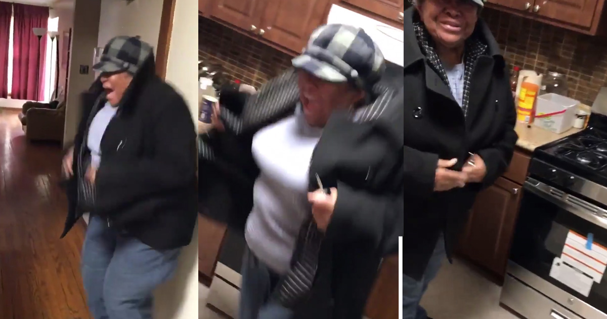 Young Man Surprises His Grandma With A New Stove