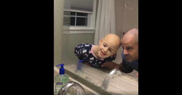 Dad Shaves His Head For His Daughter And The Look On Her Face Was Priceless