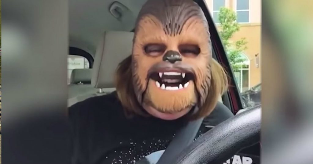 godupdates woman shares joy of the lord by wearing chewbacca mask