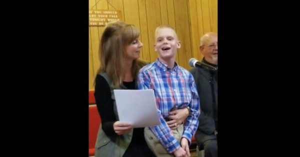 Young Man With Special Needs Sings A Song About The Lord To The Congregation