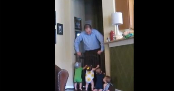 Quadruplets Greet Their Daddy In The Most Adorable Way