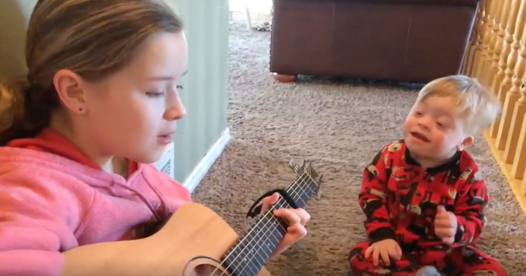 Big Sister Sings 'You Are My Sunshine' To Brother With Down Syndrome
