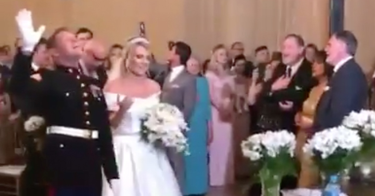 Marine And His Bride Stop Wedding To Worship The Lord