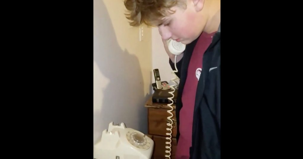 Teen Confused By A Rotary Phone