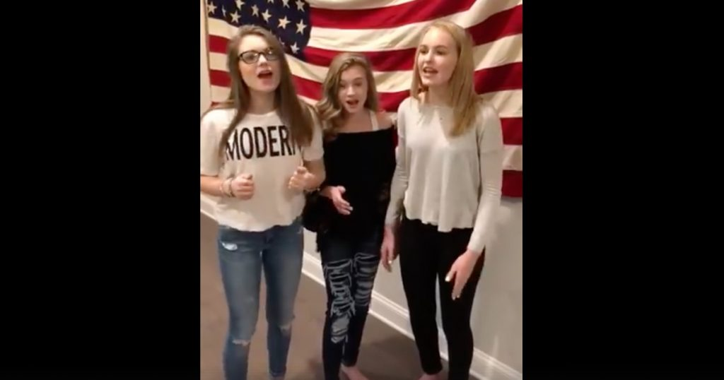 Trio Of Teen Girls Sing A Cappella Rendition Of The National Anthem