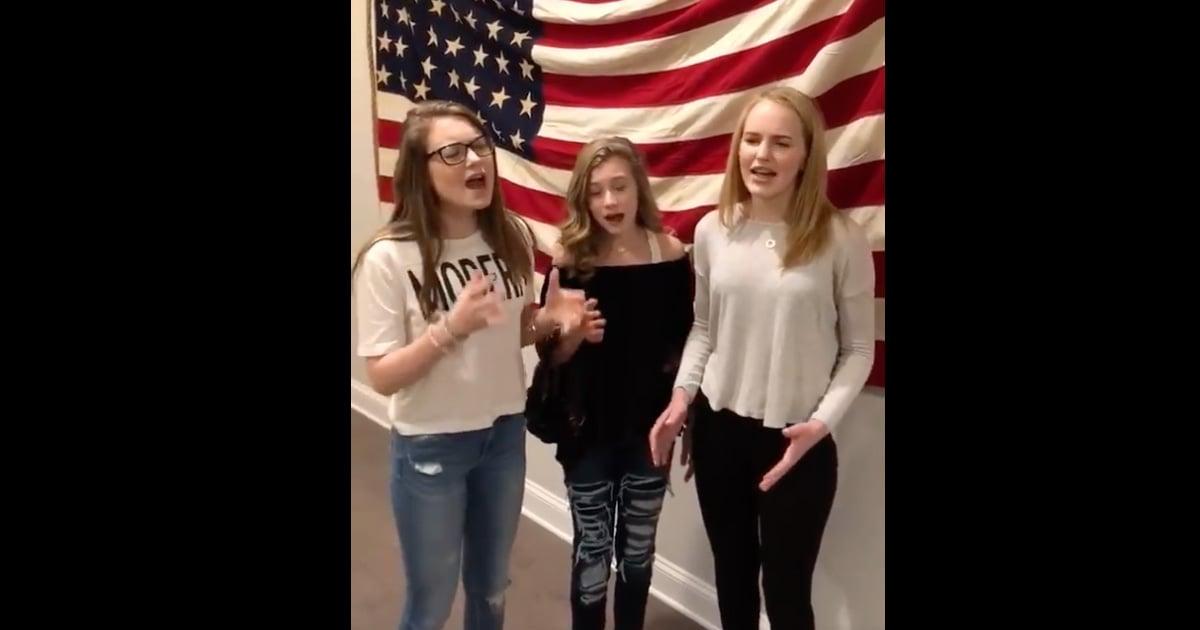 Teen girls sing