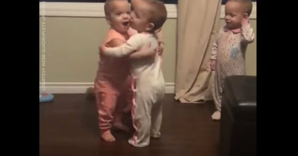 Precious Quadruplets Cannot Stop Hugging Each Other