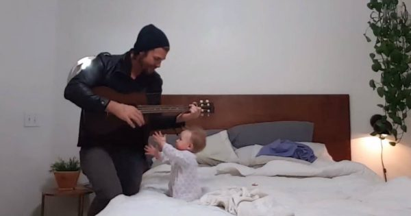 Baby Girl Has The Best Reaction To Her Daddy Playing The Guitar For Her
