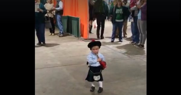 Little Boy 'Played' His Bagpipe And He Got A Round Of Applause