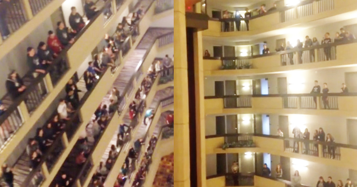 Kentucky State Choir Sings The National Anthem On Every Floor Of Hotel