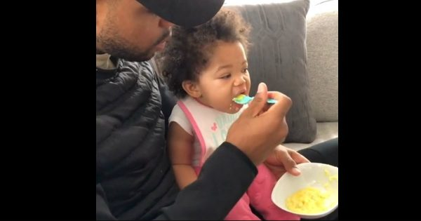 Daddy Teaches His Adorable Little Girl Mealtime Manners