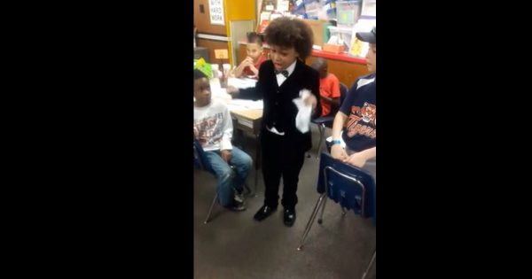 Young Boy Impersonates A Preacher For His Elementary School Career Day