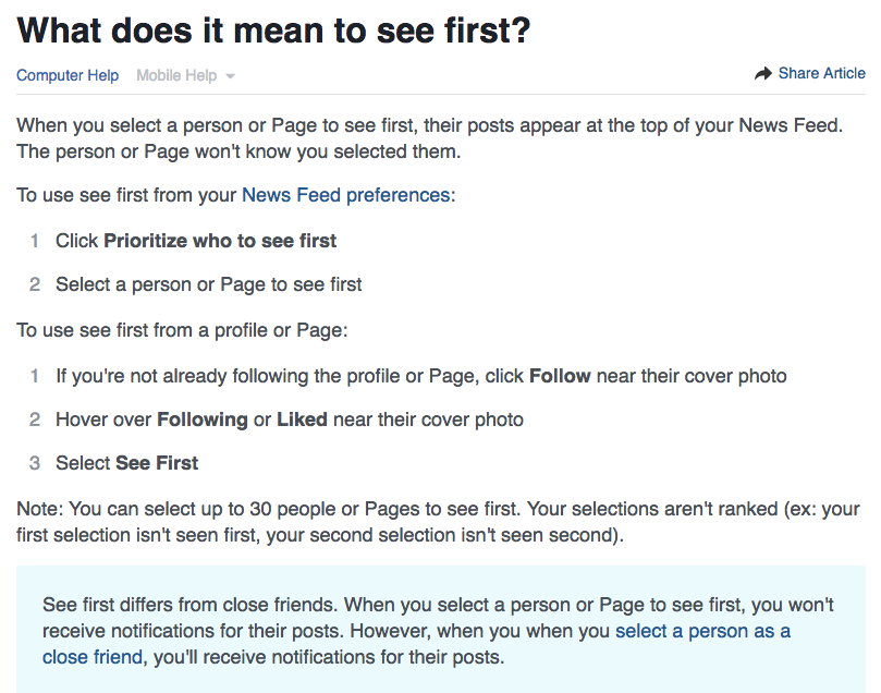 Facebook See First - Inspirational Stories