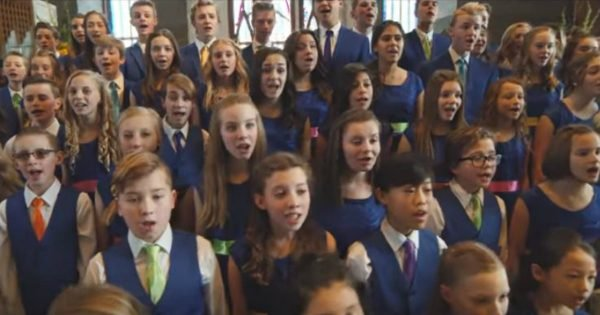 Children's Choir Sings A Song With An Encouraging Message