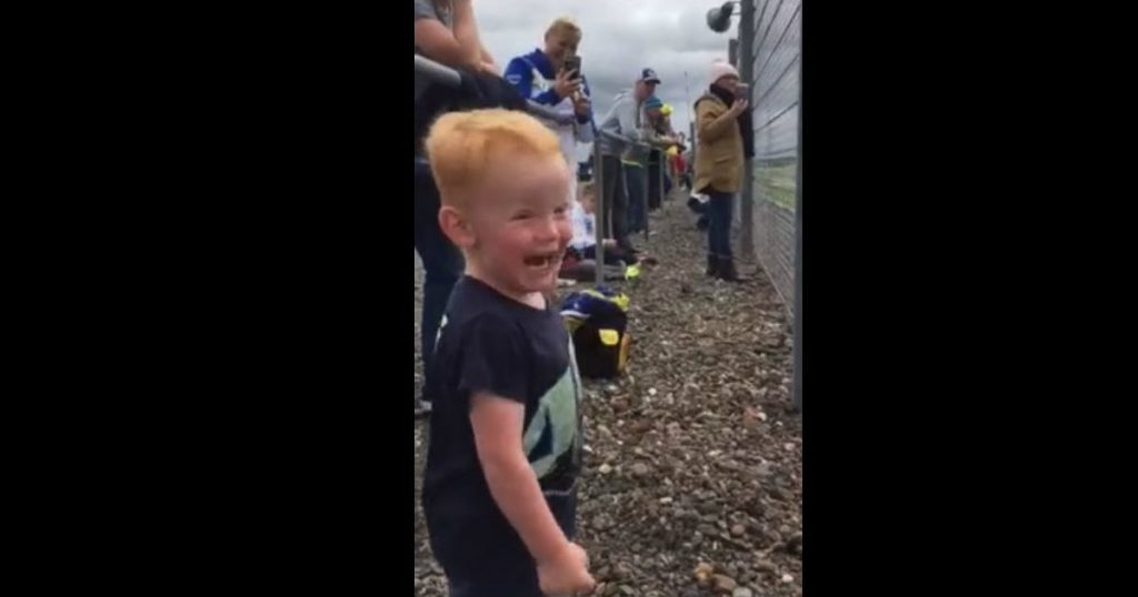 godupdates toddler watches motorcycle race first time