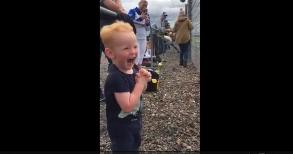 Toddler Was So Excited About Watching Motorcycles Race For The First Time