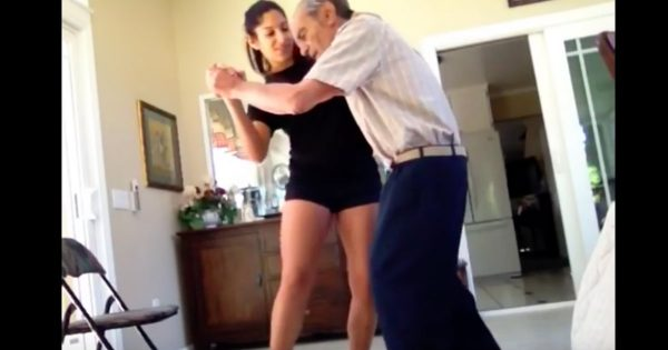 Granddaughter Dances With Her 93-Year-Old Grandfather