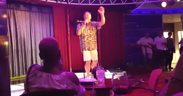 Man On Cruise Rocks Journey Karaoke Performance