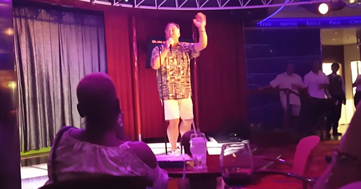 Man on cruise ship sings Journey perfectly