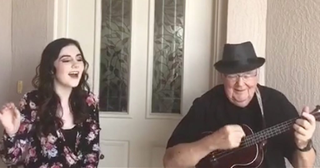 teen and grandpa duet somewhere over the rainbow