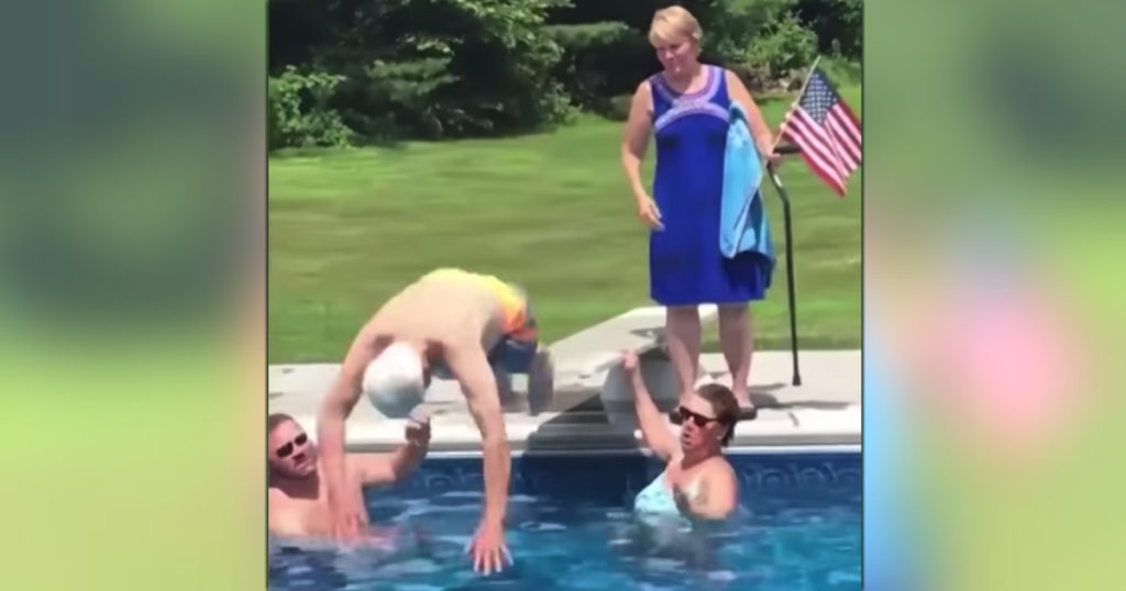 95-year-old veteran diving into pool 1