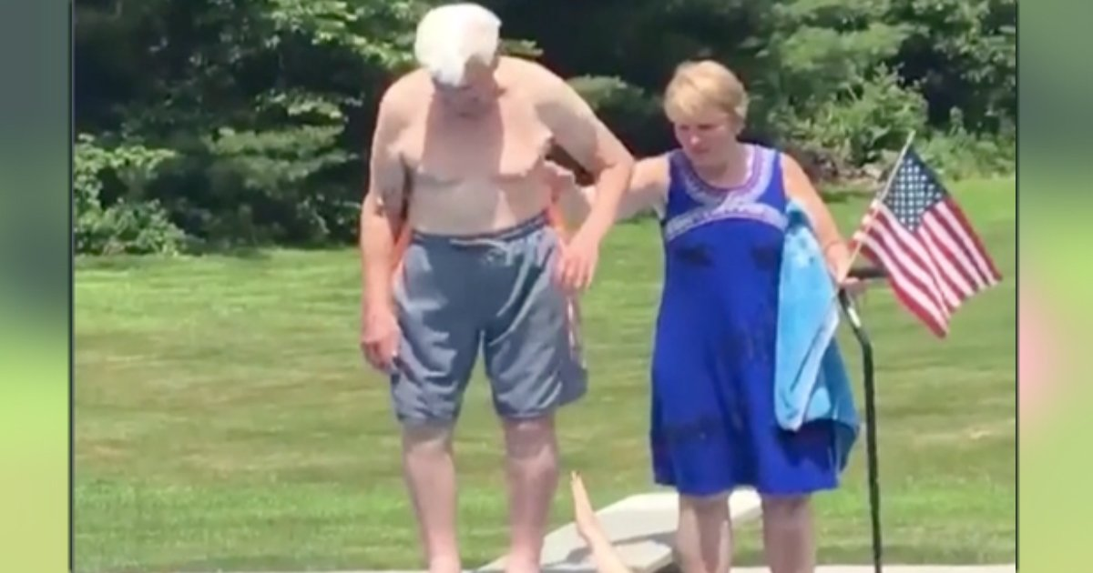 95-year-old veteran diving into pool fb