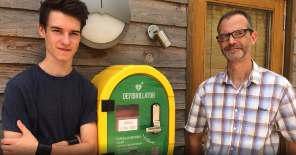 dad installed the school's defibrillator and saved son fb