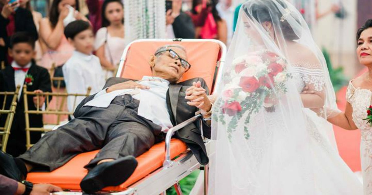 dying dad on a stretcher walks daugther down aisle fb