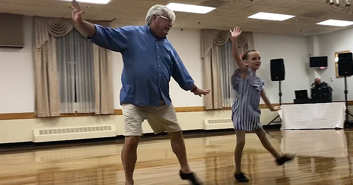 grandpa and granddaughter tap dancing