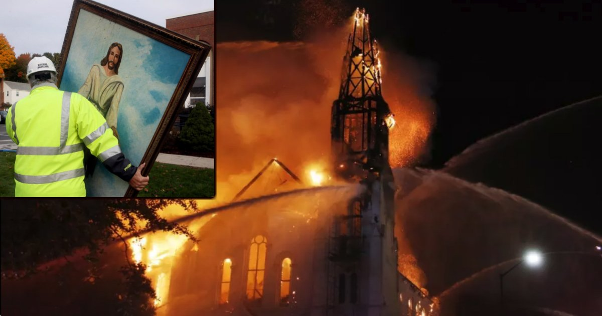 jesus painting survives historic church fire