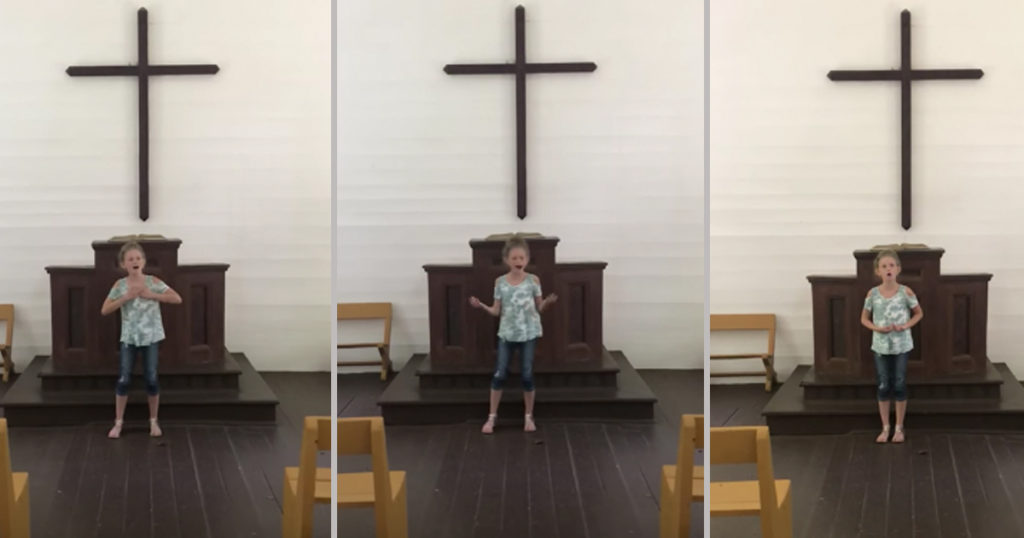 12-Year-Old Girl Beautifully Sings 'How Great Thou Art' In An Empty Church