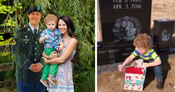 2-Year-Old Gets A Special Christmas Gift At His Daddy's Grave