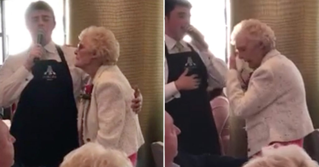 singing waiter moves grandma to tears
