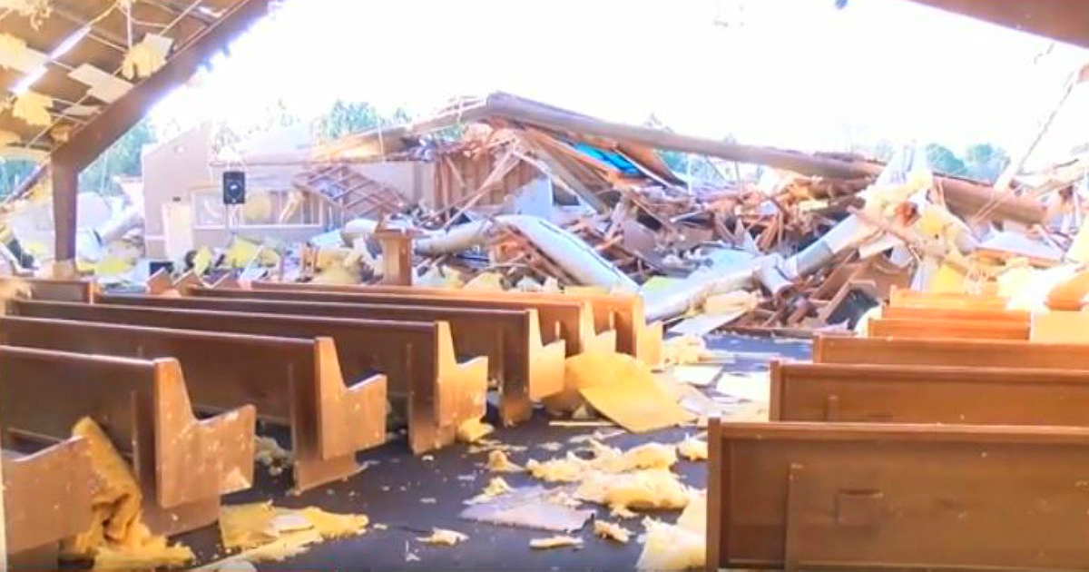 tornado destroys mississippi church baptism continues