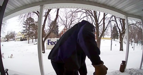 Security Camera Catches FedEx Driver's Act Of Kindness For Widow