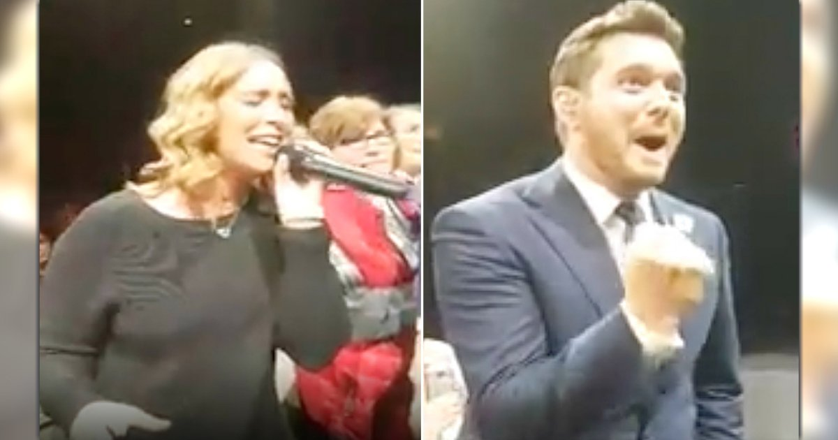 fan sings 'hallelujah' michael buble concert inspiring music video