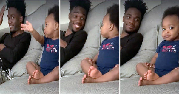 Adorable Baby Talks With Dad About TV Finale & His Frenzied Babble Is Going Viral