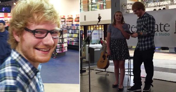 Ed Sheeran Sings Karaoke And Surprises Teen At The Mall