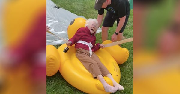 Senior Slip N Slide Brings Laughs For Residents At Nursing Home