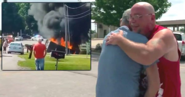 Bystanders Too Afraid to Save Man Trapped in Fiery Crash & Then Angel Shows Up Just in Time