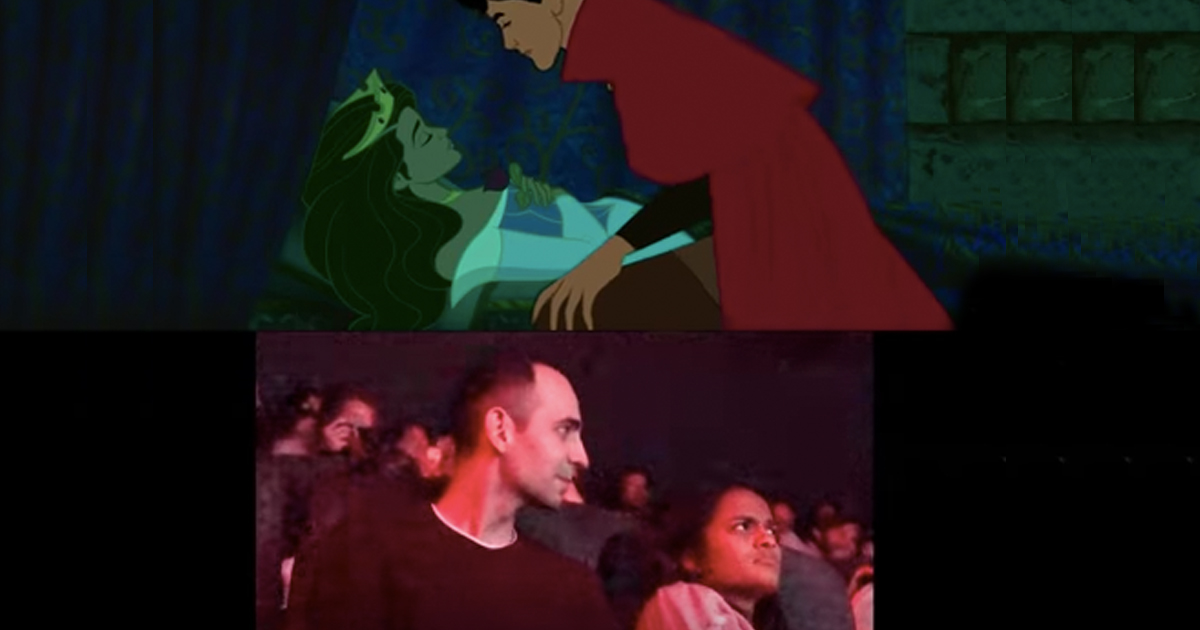 movie theater proposal disney sleeping beauty