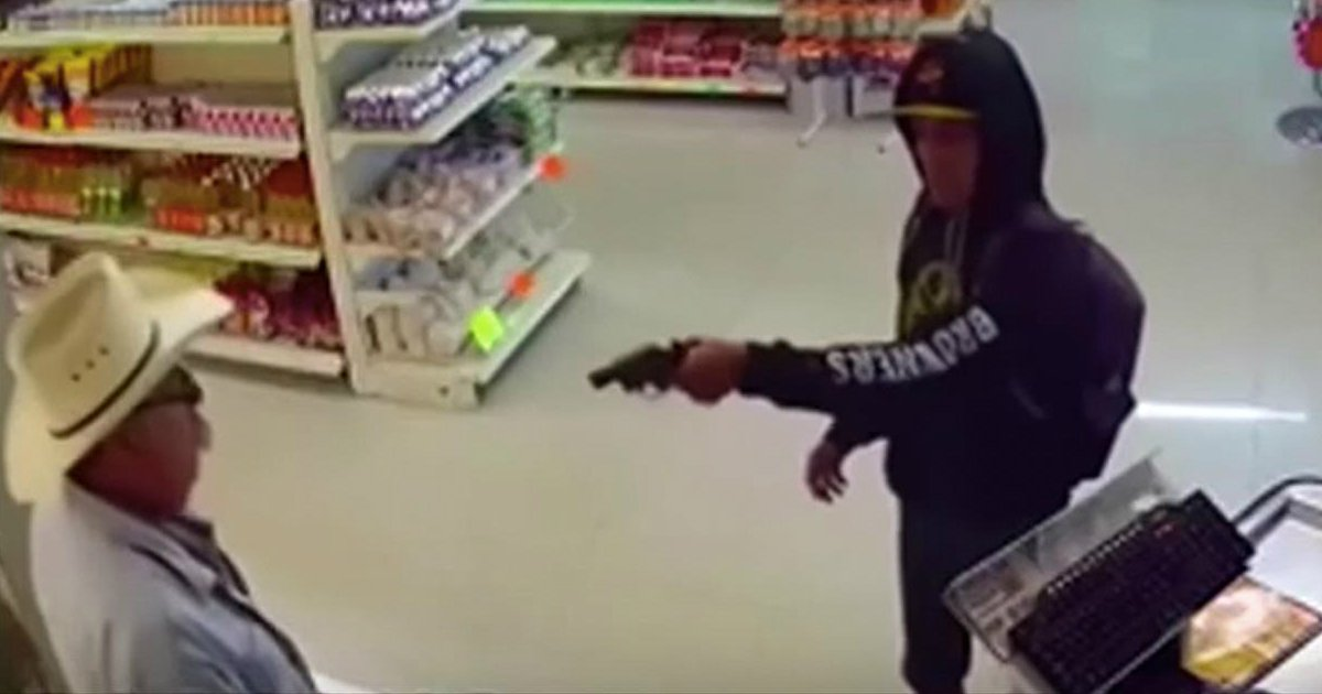 convenience store robbery stopped by cowboy