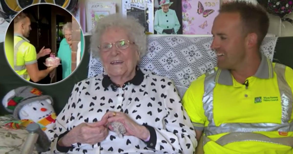 100-year-old grandma birthday cake from garbage man