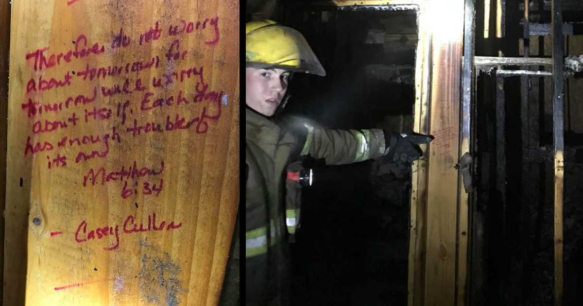 fire destroyed house bible verses on wall spared
