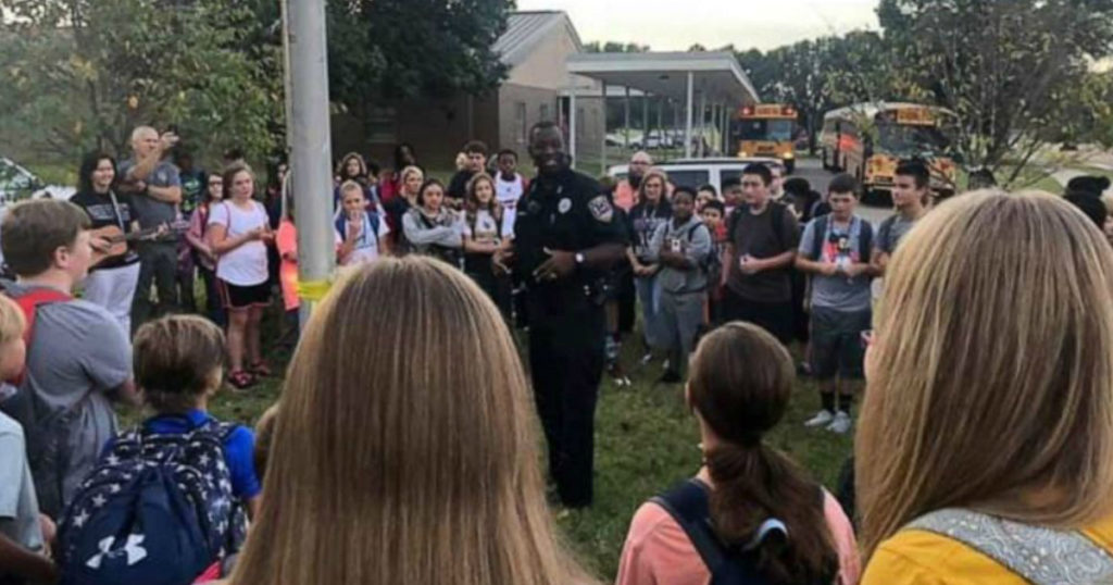 prayer at the flagpole police officer warren