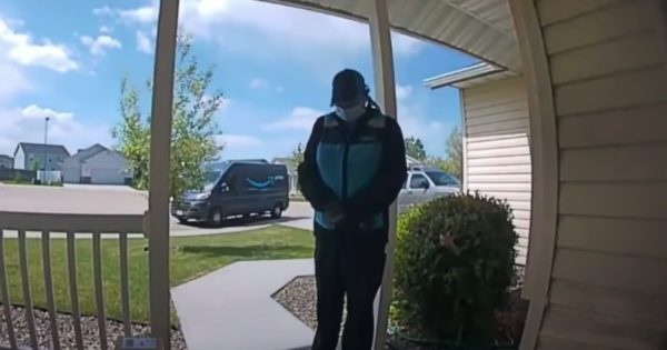 Security Camera Caught More Than Expected When Amazon Delivery Driver Prayed For Baby