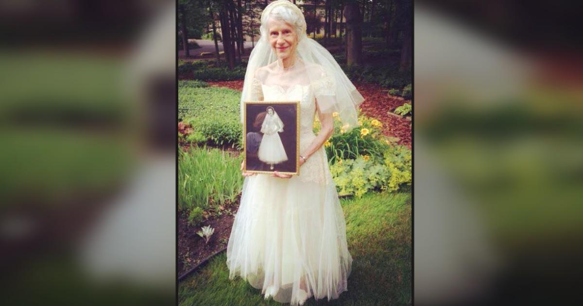 granny in wedding dress
