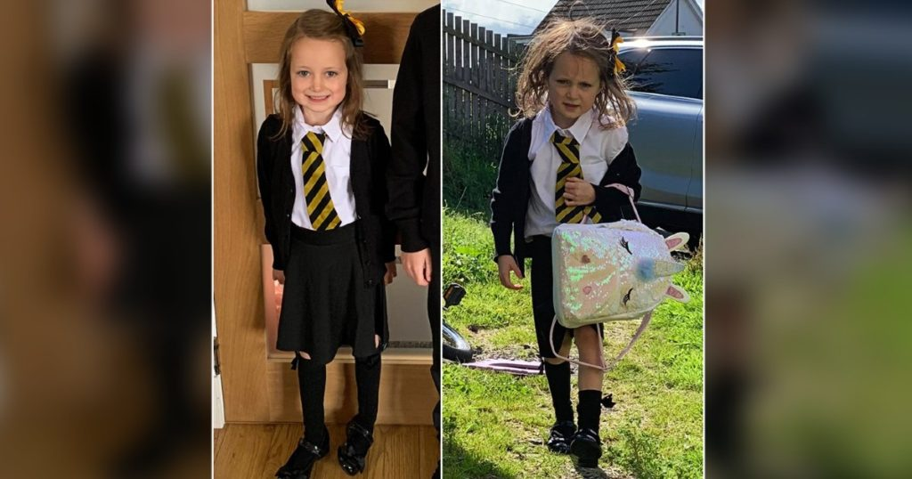 first day of school pictures lucie falconer before after