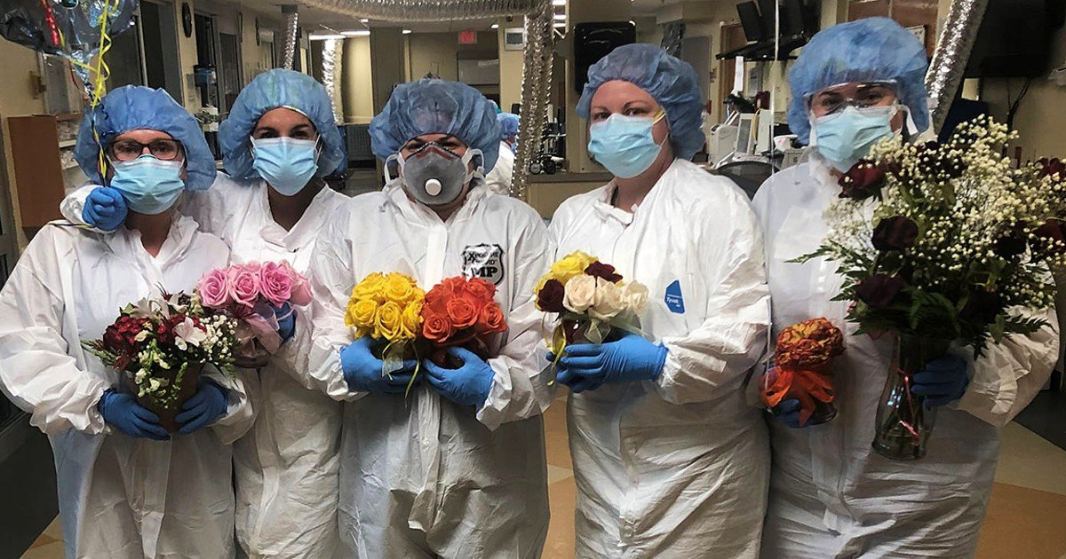 husband sends flowers to wife in hospital