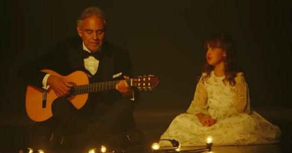 Andrea Bocelli and daughter singing Hallelujah